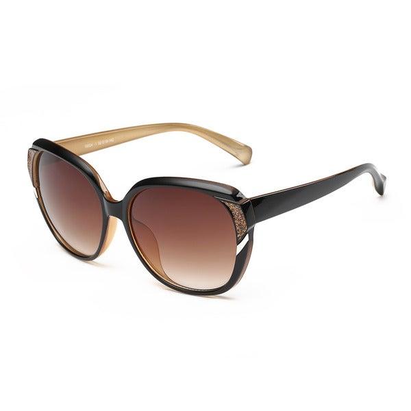 Brown Acetate Oval Full Frame Sunglasses