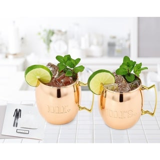 Mr. and Mrs. Solid Copper Moscow Mule Mugs (Set of 2)