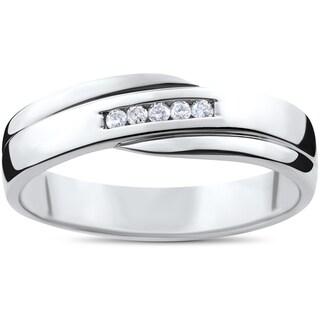 10k White Gold 1/6ct TDW Diamond Channel Set Polished Men's Wedding Ring (I-J,I2-I3)