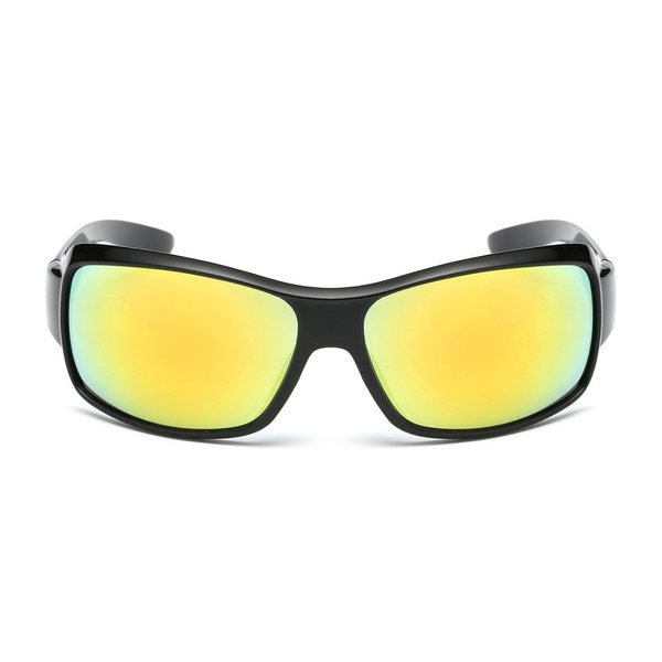 Shiny Black Acetate Sport Sunglasses with Yellow Tinted Lens