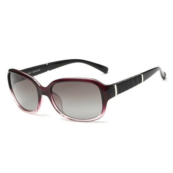 Shiny Black with Gradient Dark Red Frame Acetate 56-millimeter Square Sunglasses with Dark Grey Lens