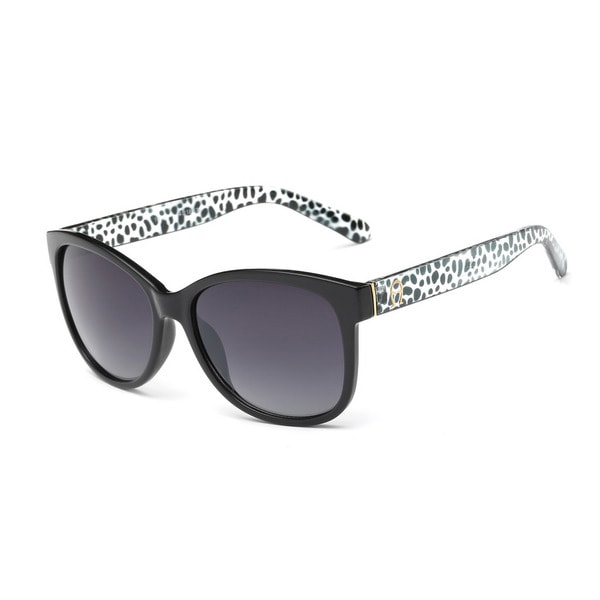 Shiny Black Square Sunglasses with Dark Grey 54-millimeter Lens and Leopard Print Frame