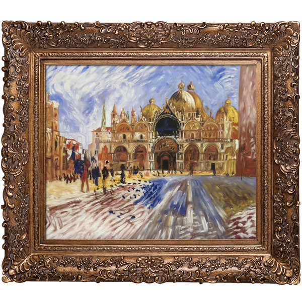 Pierre-Auguste Renoir 'The Piazza San Marco Venice, 1881' Hand Painted Framed Canvas Art