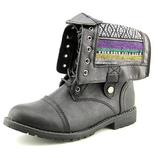 Vybe Women's Bunker Black Faux-leather Boots
