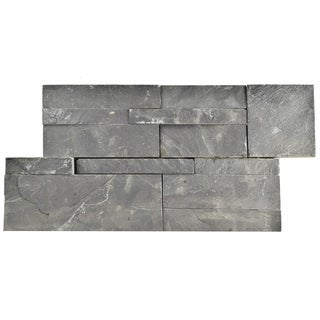 SomerTile 7x13.5-inch Piedra Black Slate Natural Stone Wall Tile (Pallet of 48)