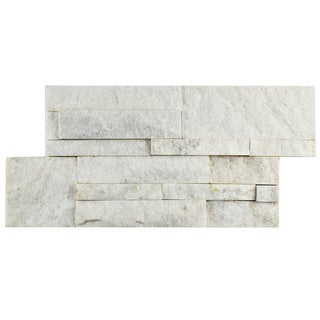 SomerTile 7x13.5-inch Piedra White Quartzite Natural Stone Wall Tile (Pallet of 48)