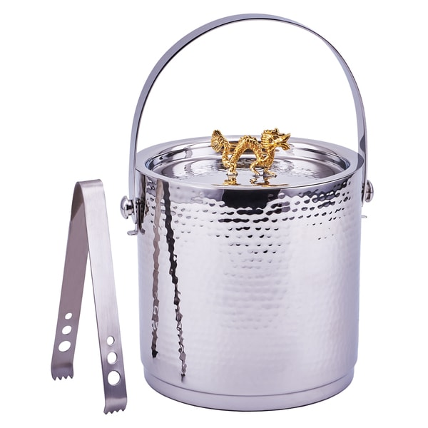 'Dragon' Handle Hammered Ice Bucket Stainless Steel With Lid and Ice Tongs