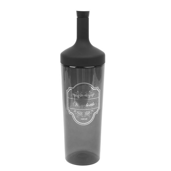 Wine Bottle-shaped Transparent Black Plastic 1.1-liter Fruit/Tea/Ice Infusion Bottle with Internal Strainer and Silicone Cork