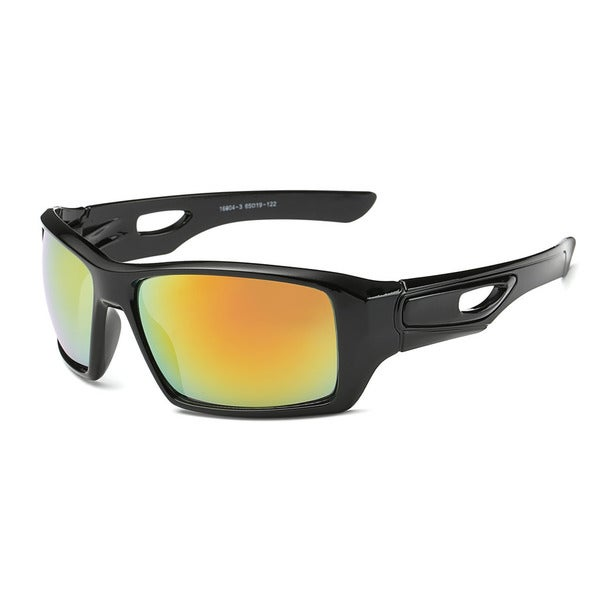 Shiny Black Sports Sunglasses with Orange 65-millimeter Tinted Lens and Hollowed-out Arms