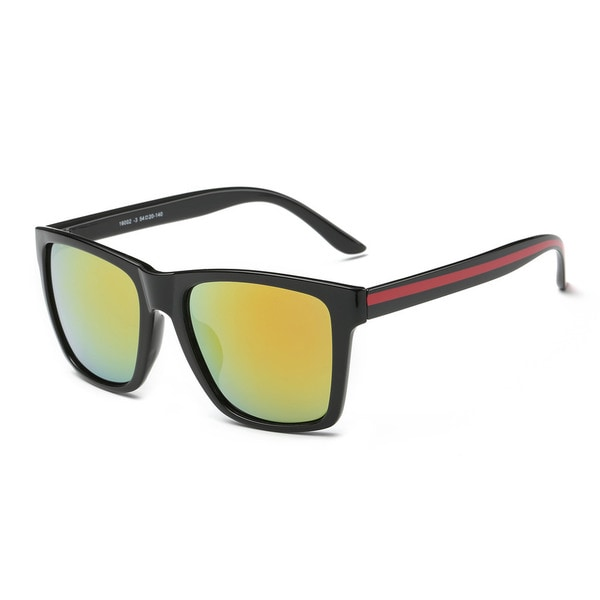 Shiny Black Frame with Golden Tinted Lens Square Sunglasses