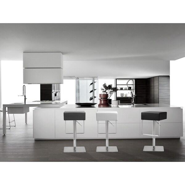 Seville White Stainless Steel/Polypropylene Barstool