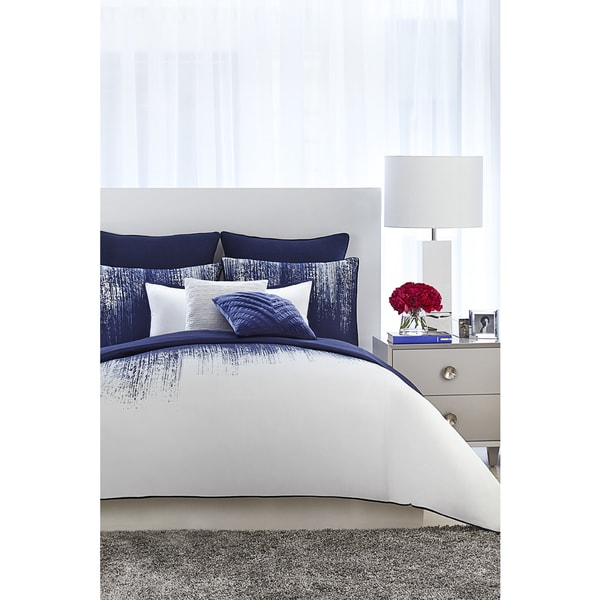 Vince Camuto Lyon Blue and White Comforter Set