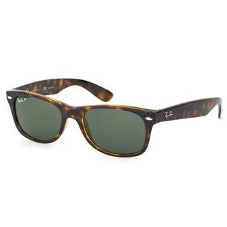 Ray-Ban RB 2132 902/58 New Wayfarer Tortoise Plastic Sunglasses With Green Polarized Lenses