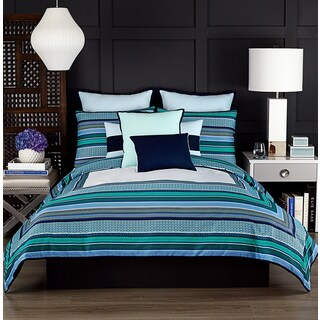 Vince Camuto Goa Blue Striped Comforter Set
