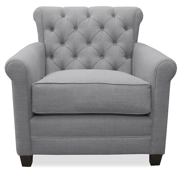 South Cone Home Del Mar Chestnut Wood and Fabric Tufted Chair