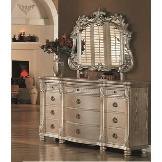 Lyke Home Bellisario Natural Veneer/Wood Dresser and Mirror Combo