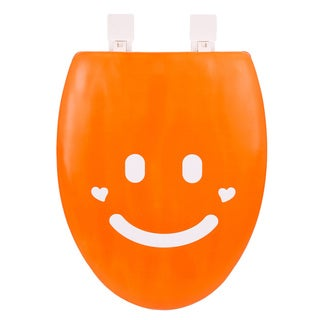 Happy Seat Smile Soft Padded Elongated Toilet Seat with Plastic Hinges