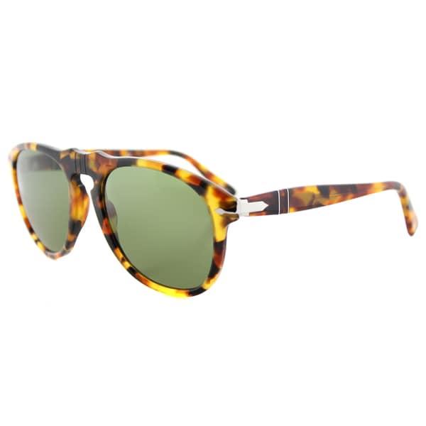 Persol PO 649 10524E Icons Madreterra Plastic Aviator Sunglasses Green Lens
