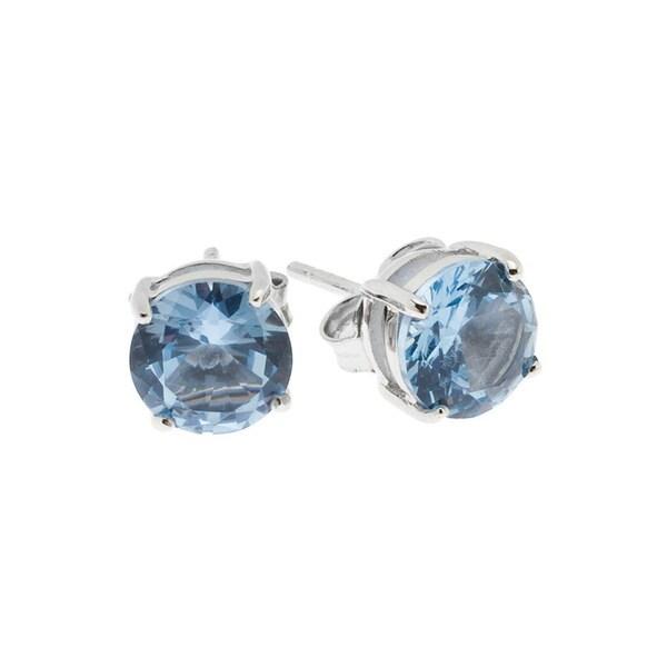 Crislu Sterling Silver Crystal Stud Earrings
