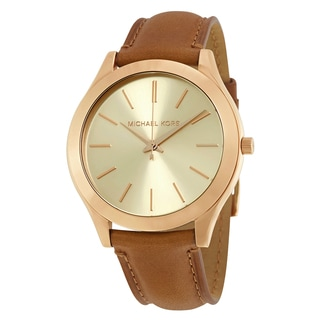 Michael Kors Women's MK2465 'Slim Runway' Brown Leather Watch