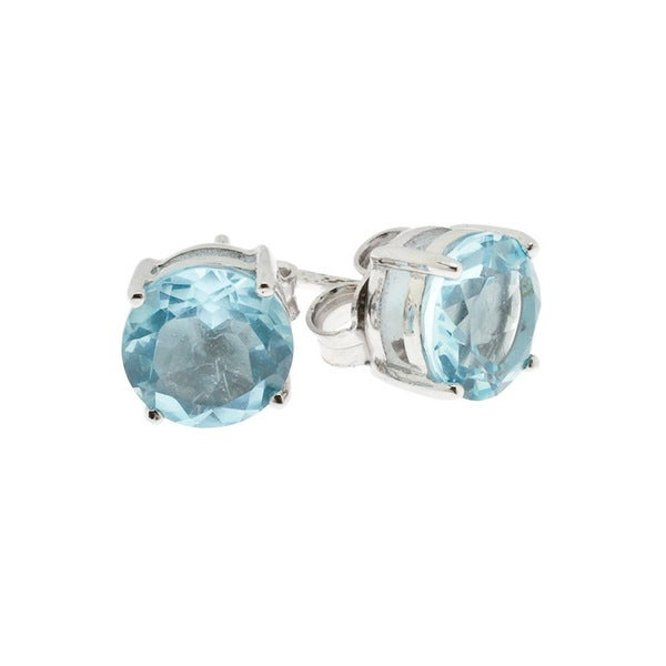 Crislu Sterling Silver Crystal Stud Earrings