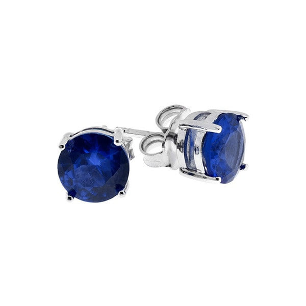 Crislu High-polish Sterling Silver Blue Crystal Earrings