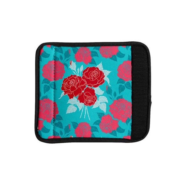 KESS InHouse Anneline Sophia 'Summer Rose Red' Blue Aqua Luggage Handle Wrap