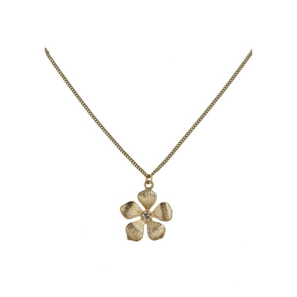 Relic Gold Metal Crystal Floral Pendant Necklace