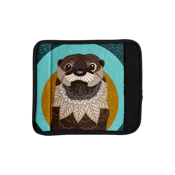 KESS InHouse Art Love Passion 'Otter in Water' Blue Brown Luggage Handle Wrap