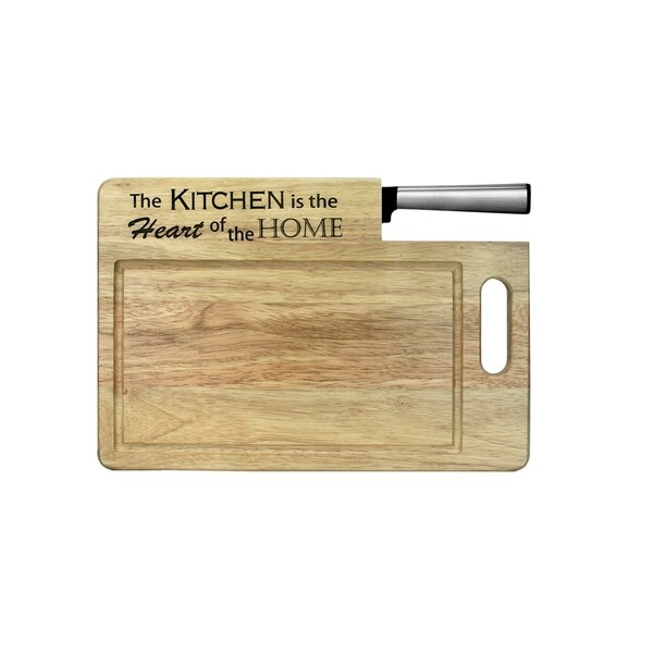Ginsu Koden Series 'The Kitchen is the Heart of the Home' Wood Cutting Board with 7-inch Santoku Knife