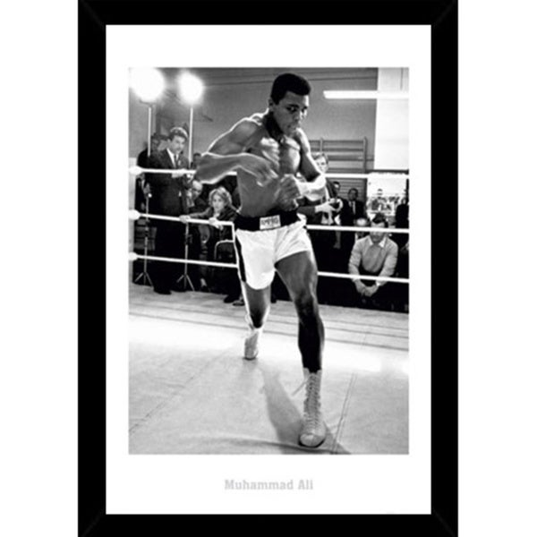 Muhammad Ali Training Print with Black Wood Frame