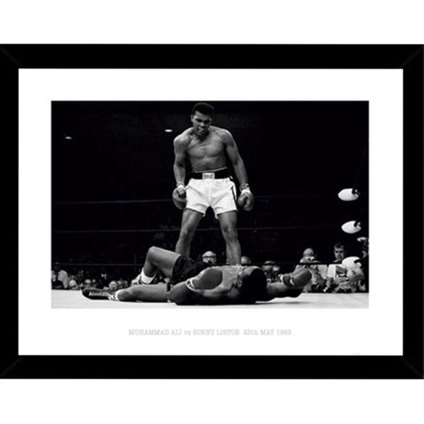 Muhammad Ali vs. Sonny Liston 24-inch x 32-inch Poster Print with Black Wood Frame