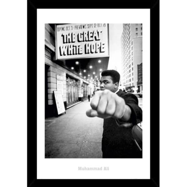 Muhammad Ali Great White Print with Black Wood Frame