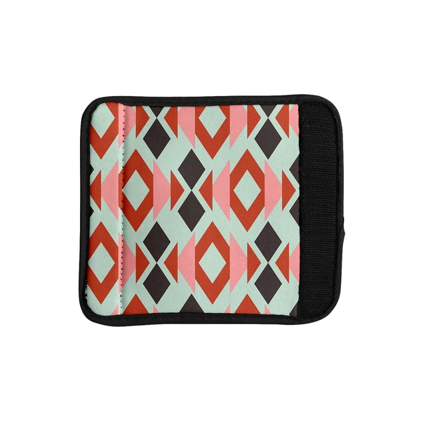 KESS InHouse Pellerina Design 'Coral Mint Triangle Weave' Orange Teal Luggage Handle Wrap