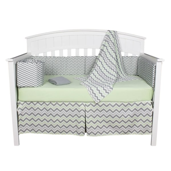 Green and Grey Chevron Zig Zag 5-piece Unisex Neutral Baby Bedding with Bumper