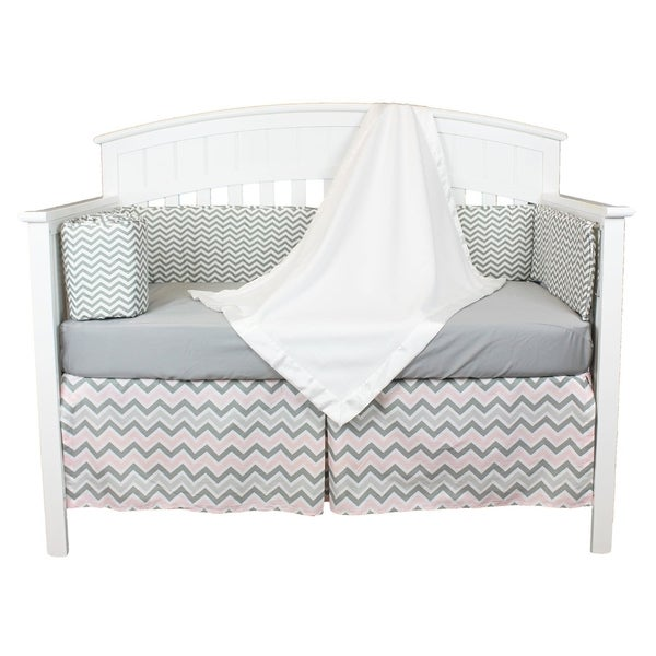 Pink and Grey Chevron 4-piece Zig Zag Baby Bedding Set with Fleece Blanket and Chevron Bumper