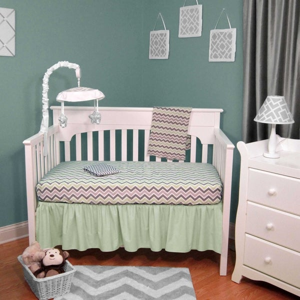 Chevron Green and Grey Four-piece Baby Crib Bedding with No Bumper 19393466