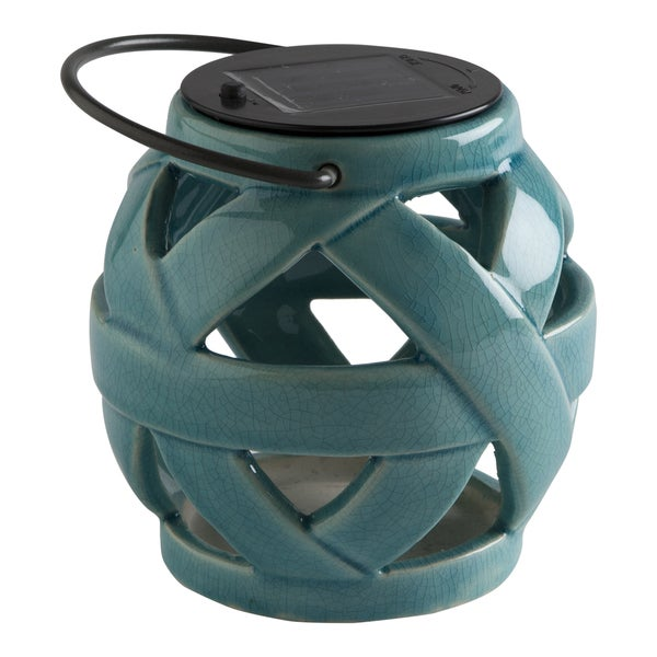 TAG Light Aqua Weave Solar Lantern