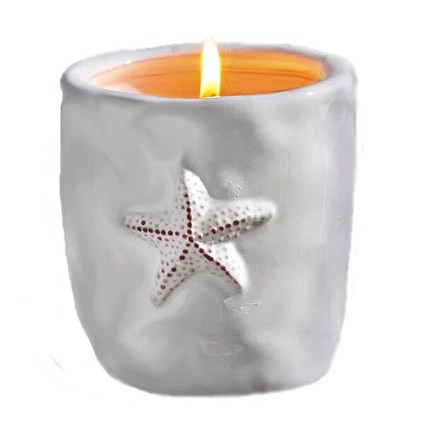 TAG White Star Fish Citronella Candle Pot