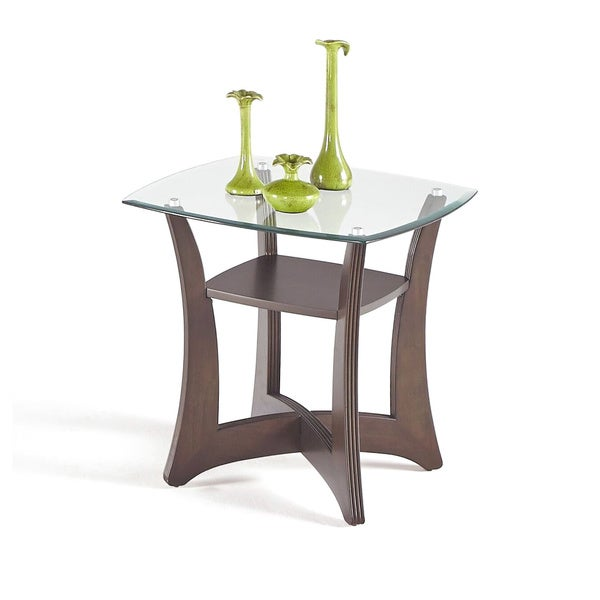 Walnut Veneer/Glass Square Lamp Table