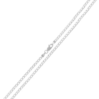 0.925 Sterling Silver 2-millimeter Solid Cuban Curb Link Diamond-cut ITProLux Necklace Chain