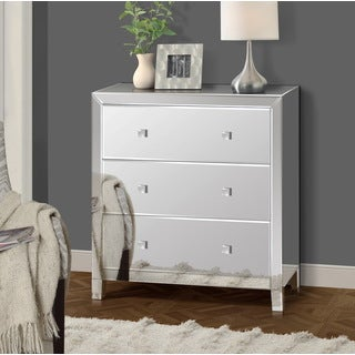 Gallerie Decor Reflections Mirrored Glass and Wood 3-drawer Ches