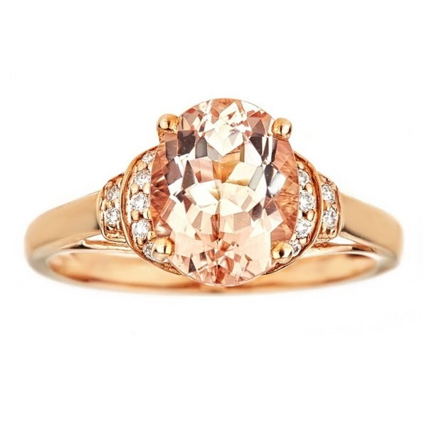 Anika and August 10k Rose Gold Oval-cut Morganite and Diamond Ring 19394035