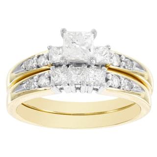 H Star 14k Yellow Gold 1ct Diamond Princess Cut Bridal Set (I-J, I2-I3)