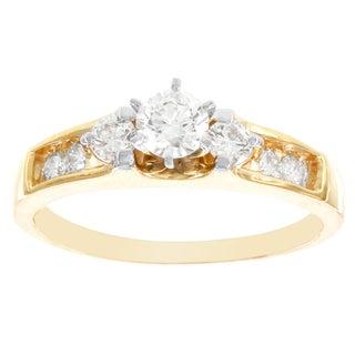 H Star 14k Yellow Gold 3/4ct Diamond Engagement Ring (I-J, I2-I3)