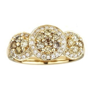 Anika and August 14K Yellow Gold Round-cut Multi-Color Diamond Ring