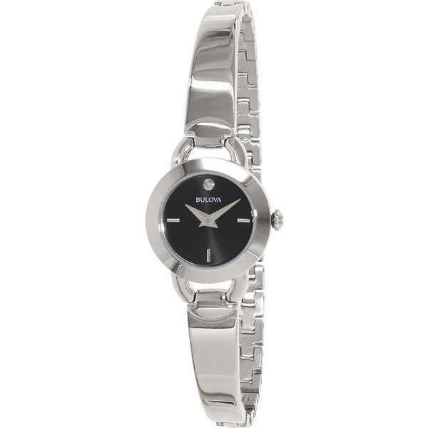 Bulova Women's 96P155 Stainless Steel Diamond Bangle Watch with 30M Water Resistance 19394072