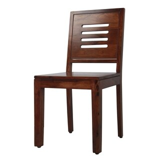 Solid Teak Finish Solid Sheesham Wood Chairs (Set of 2)