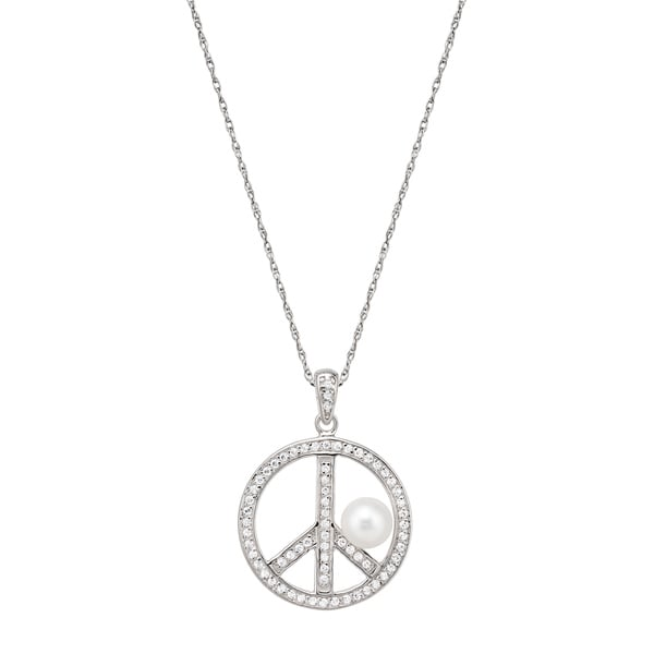 Pearlyta Sterling Silver Freshwater Pearl and CZ Peace Charm Necklace