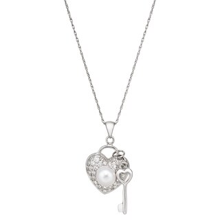 Pearlyta Sterling-silver Pearl and Cubic Zirconia Heart and Key Necklace
